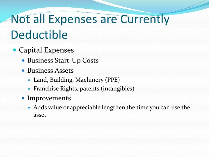 Not all Expenses are Currently Deductible