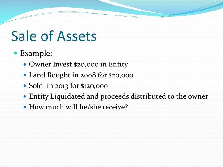 Sale of Assets