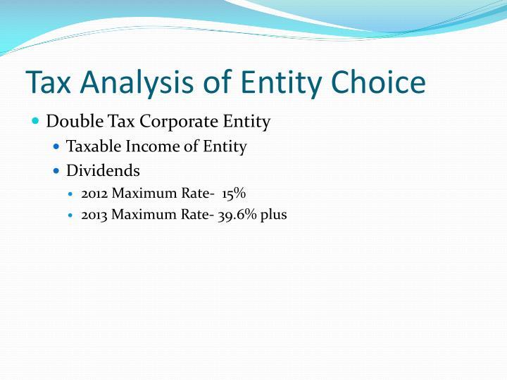 Tax Analysis of Entity Choice