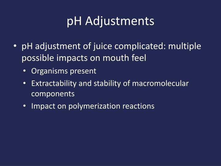 pH Adjustments
