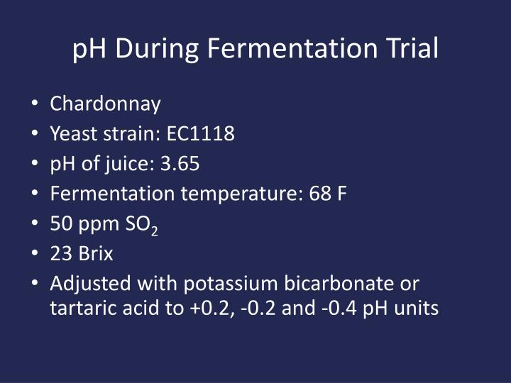 pH During Fermentation Trial