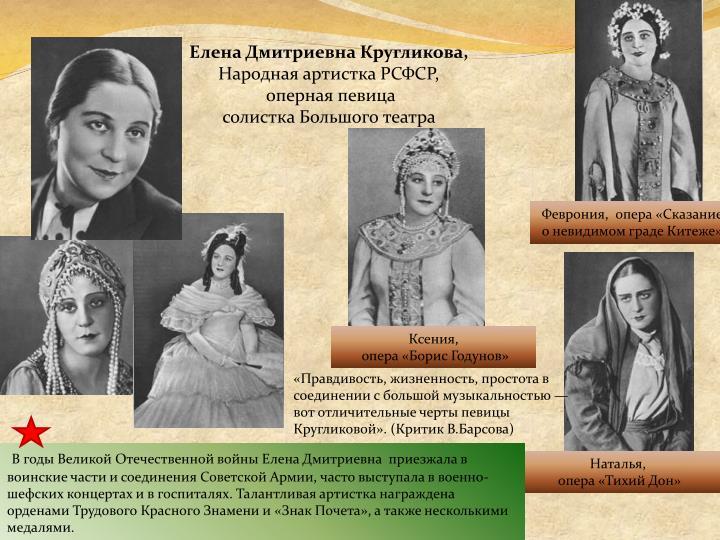 Елена Дмитриевна Кругликова,