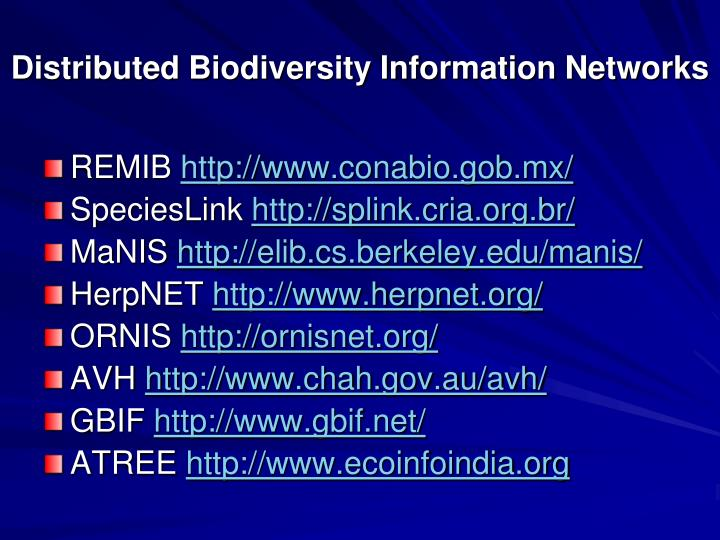 Distributed Biodiversity Information Networks
