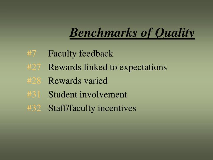 Benchmarks of Quality