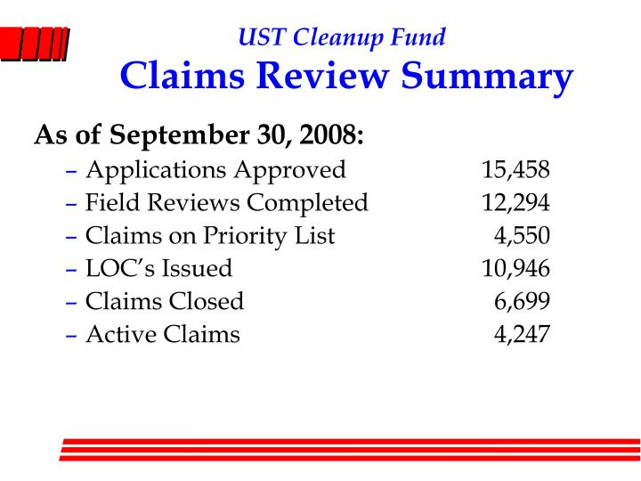 Ust cleanup fund claims review summary