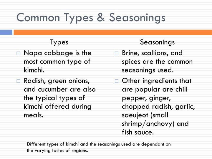 Common Types & Seasonings