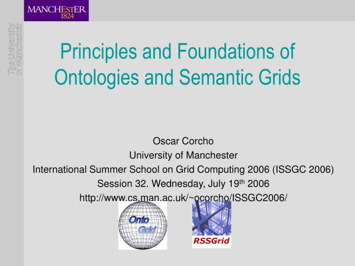 principles and foundations of ontologies and semantic grids n.