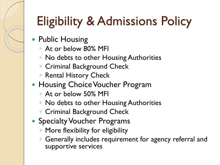 Eligibility admissions policy