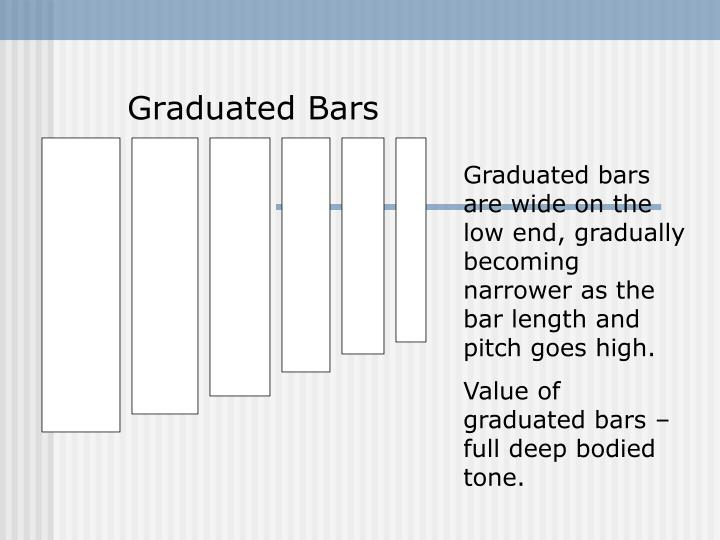 Graduated bars are wide on the low end, gradually becoming narrower as the bar length and pitch goes high.