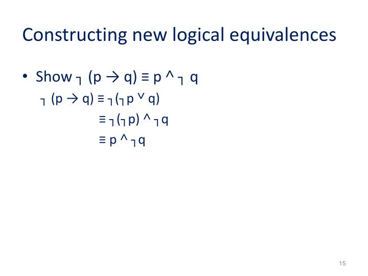 Constructing new logical equivalences