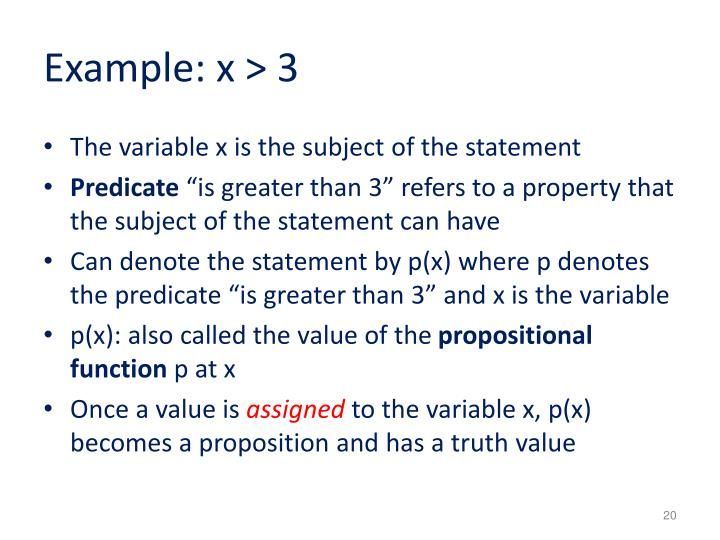 Example: x > 3