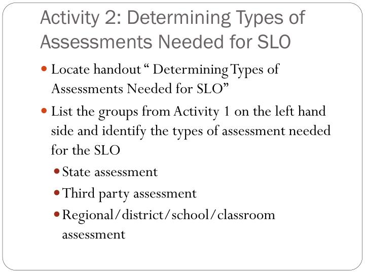 Activity 2: Determining Types of Assessments Needed for SLO