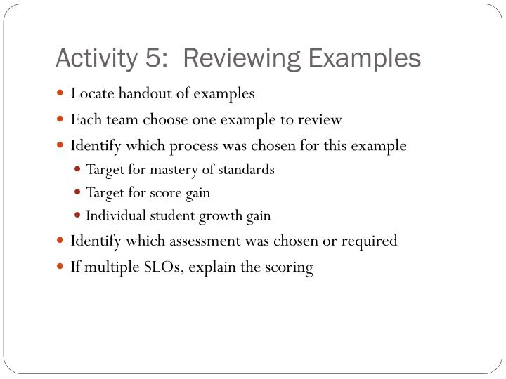 Activity 5:  Reviewing Examples