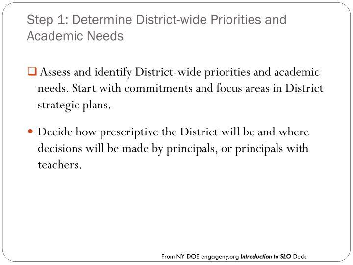 Step 1: Determine District-wide Priorities and Academic Needs