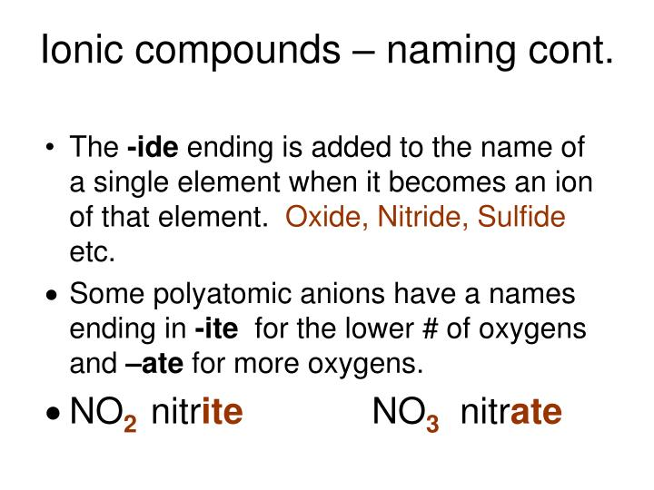 Ionic compounds – naming cont.