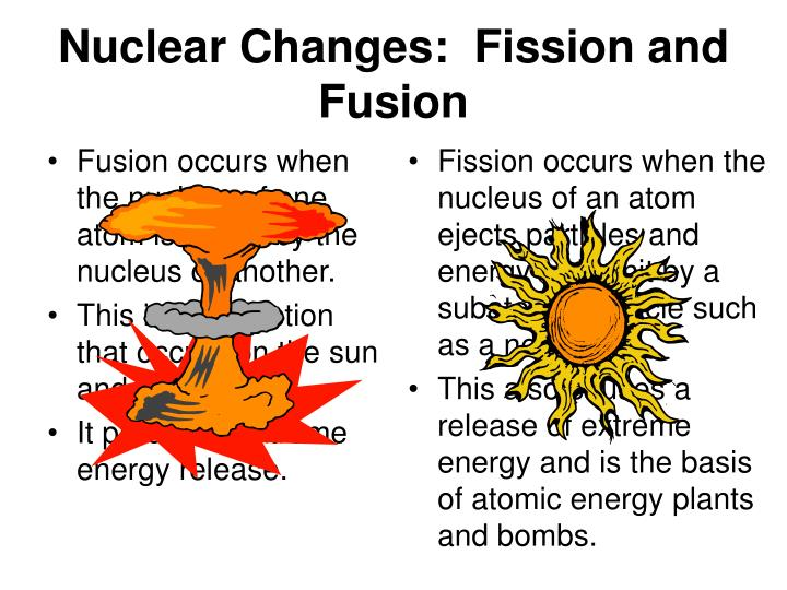 Fusion occurs when the nucleus of one atom is joined by the nucleus of another.