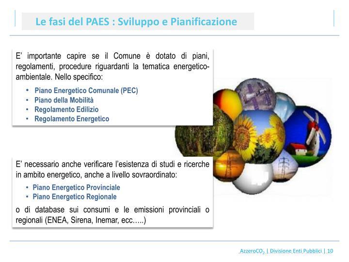 Le fasi del PAES : Sviluppo e Pianificazione