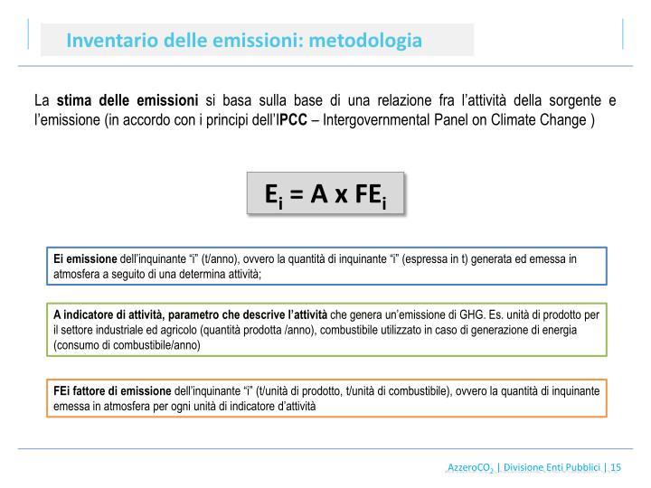 Inventario delle emissioni: metodologia