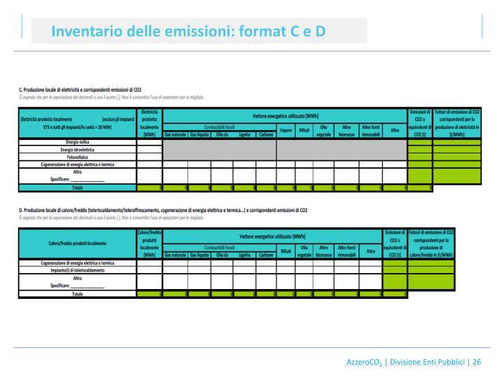 Inventario delle emissioni: format C e D