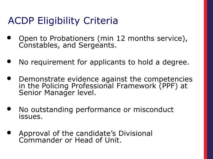 ACDP Eligibility Criteria