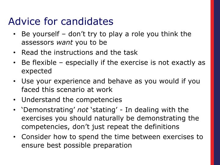 Advice for candidates