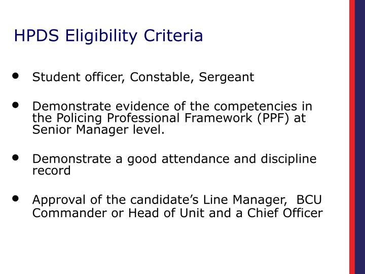 HPDS Eligibility Criteria