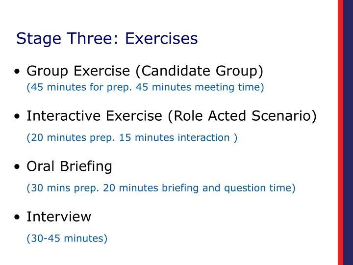 Stage Three: Exercises