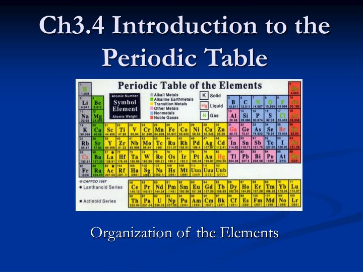 ch3 4 introduction to the periodic table n.