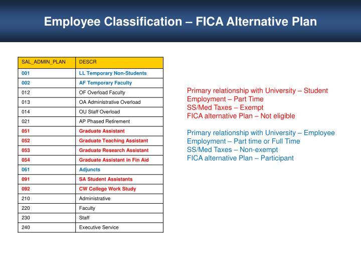 Employee Classification – FICA Alternative Plan