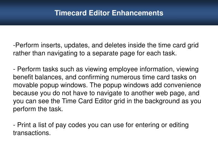 Timecard Editor Enhancements
