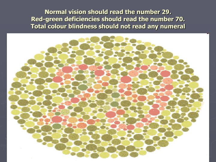 Normal vision should read the number 29.