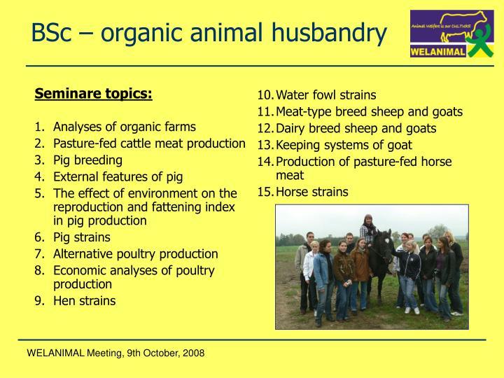 Analyses of organic farms