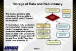 storage of data and redundancy