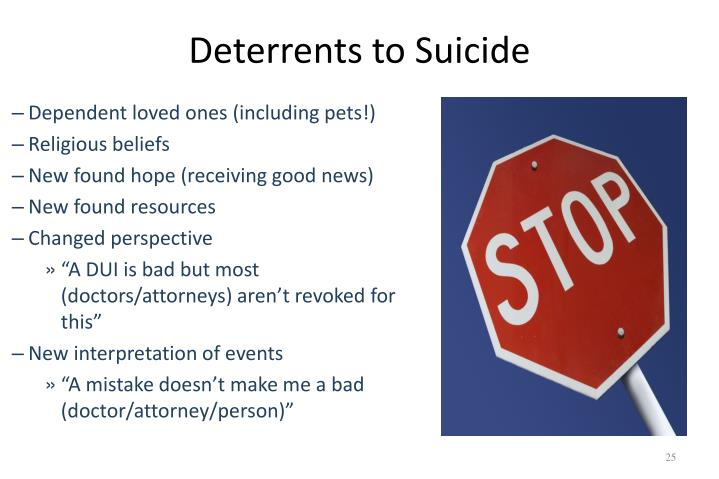 Deterrents to Suicide