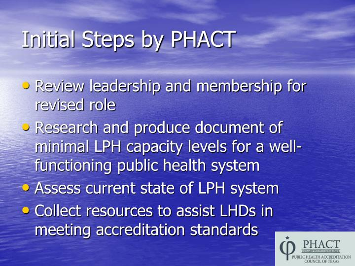 Initial Steps by PHACT