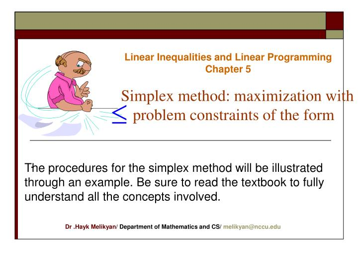 PPT - Linear Inequalities and Linear Programming Chapter 5