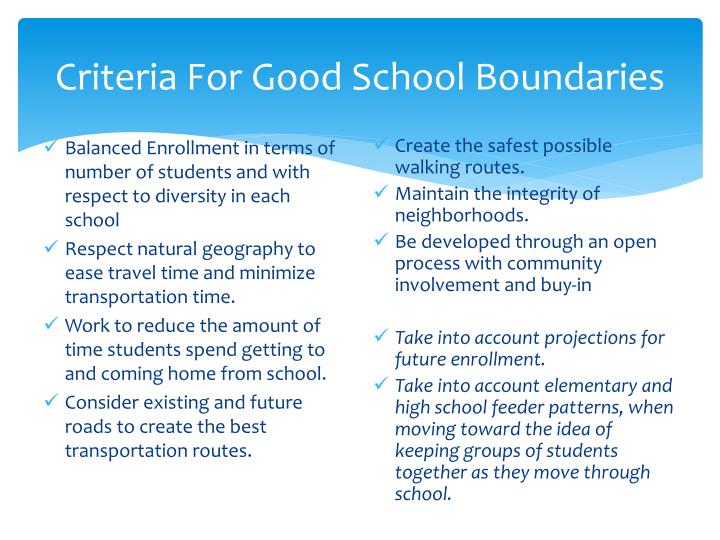 Criteria For Good School Boundaries