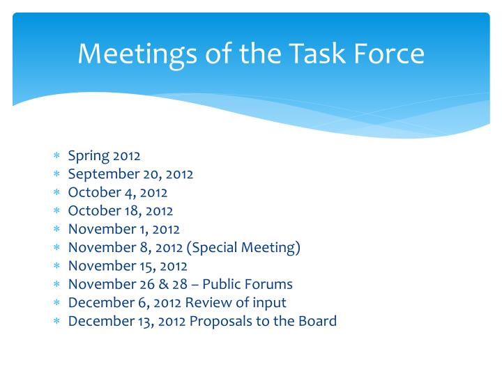 Meetings of the Task Force