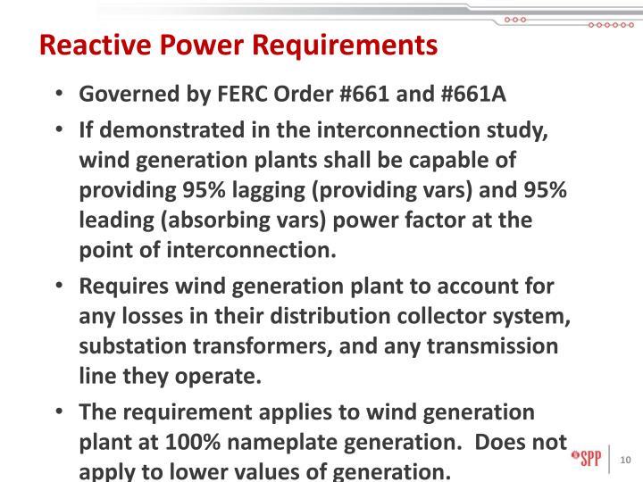 Reactive Power Requirements