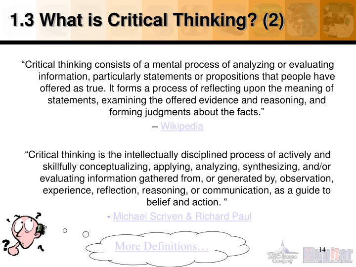 1.3 What is Critical Thinking? (2)