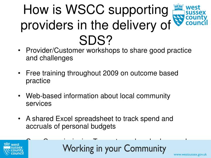 How is WSCC supporting providers in the delivery of SDS?