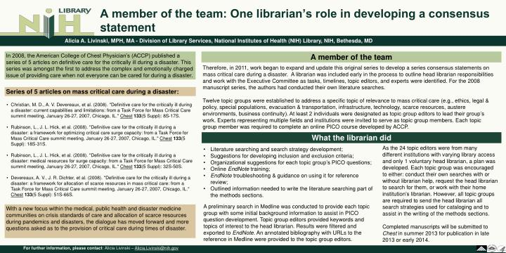 a member of the team one librarian s role in developing a consensus statement