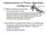 implementation of theory of multiple intelligences