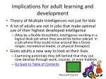 implications for adult learning and development