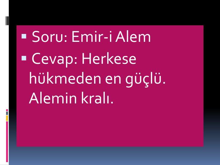 Soru: Emir-i Alem