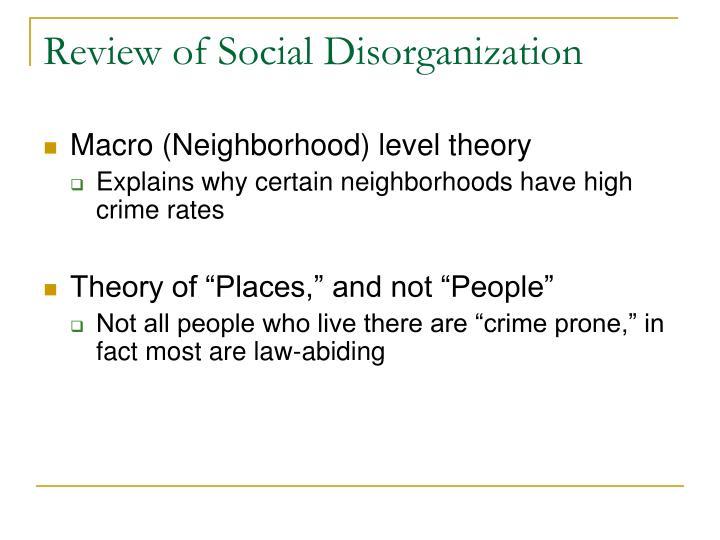 Review of social disorganization