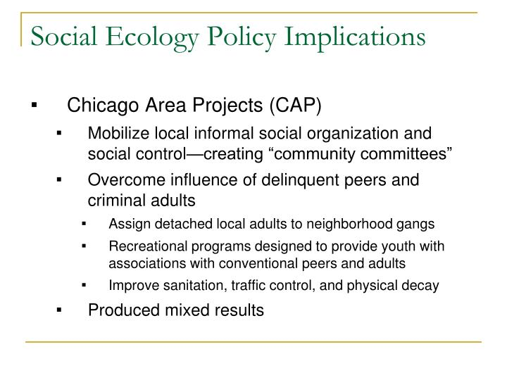 Social Ecology Policy Implications