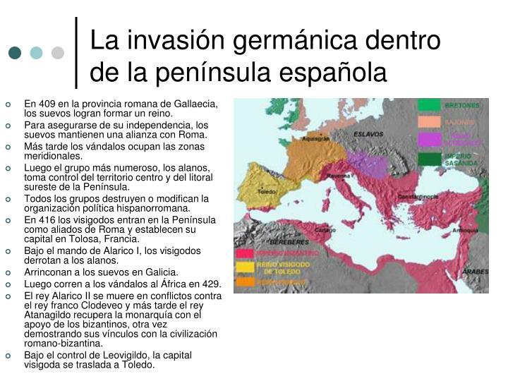 La invasión germánica dentro de la península española