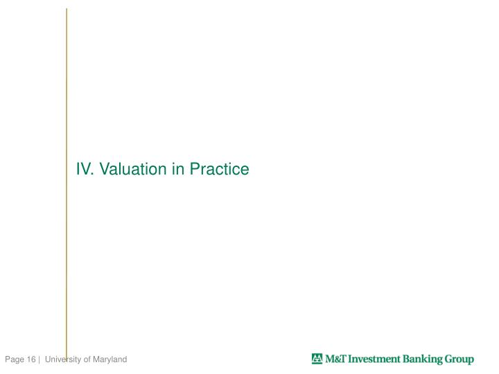 IV. Valuation in Practice