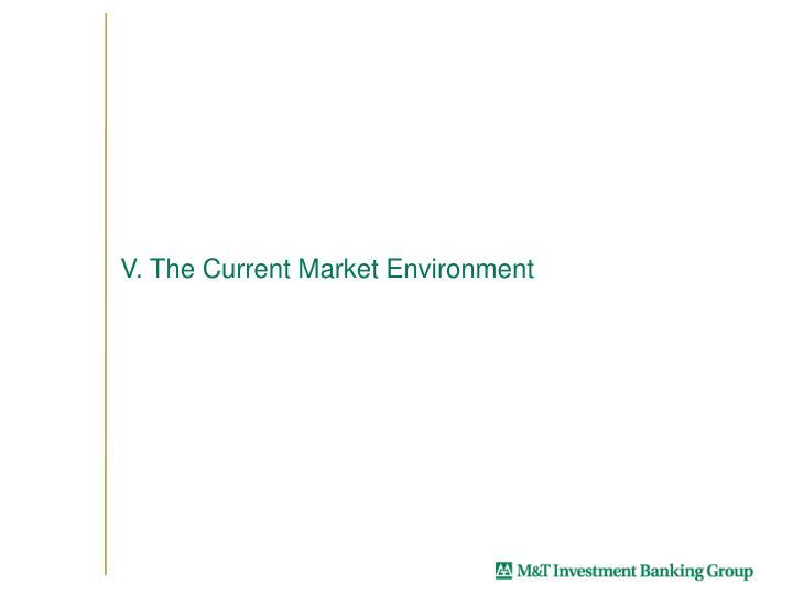 V. The Current Market Environment